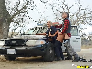 Slutty lady cop bent over say no to car and fucked stranger backtrack from