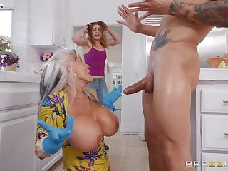 Busty matured granny Sally D'angelo plays with cum exposed to her huge tits