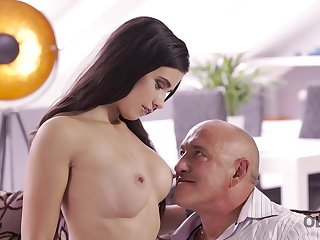 OLD4K. Daddy drills throat, twat, and rear make void of gorgeous
