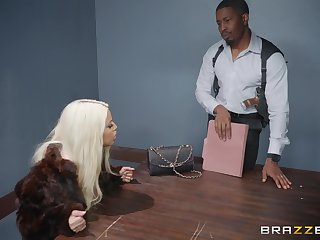 Bridgette B, gets her pussy pounded at the end of one's tether her horny boyfriend chiefly the table